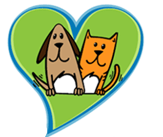 Heart with a cartoon dog and cat inside