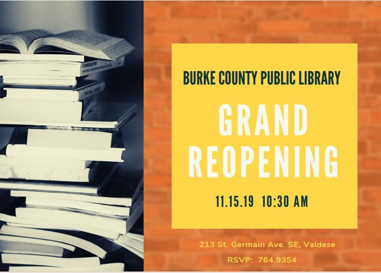 Valdese Library Reopening Invite