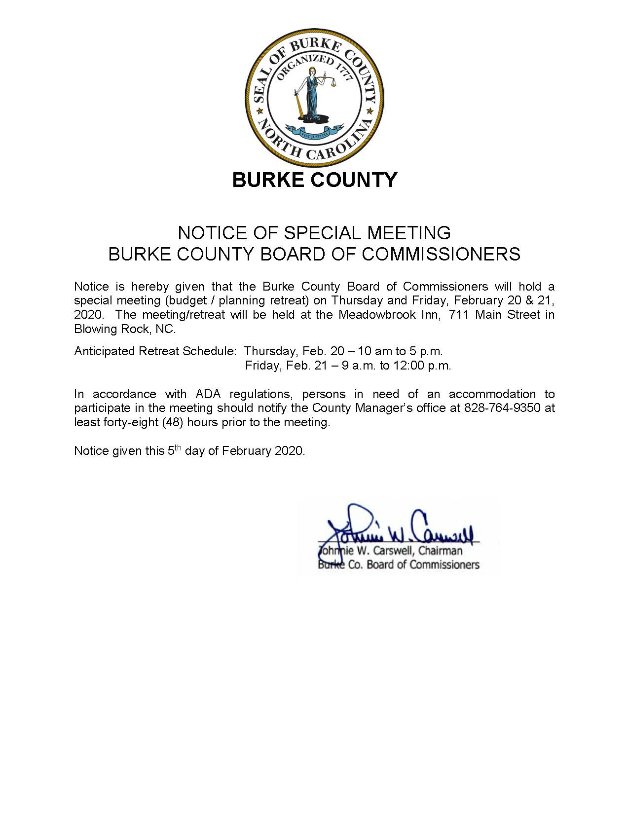 2020 02 20-21 Special Meeting Notice - Budget Planning Retreat Notice