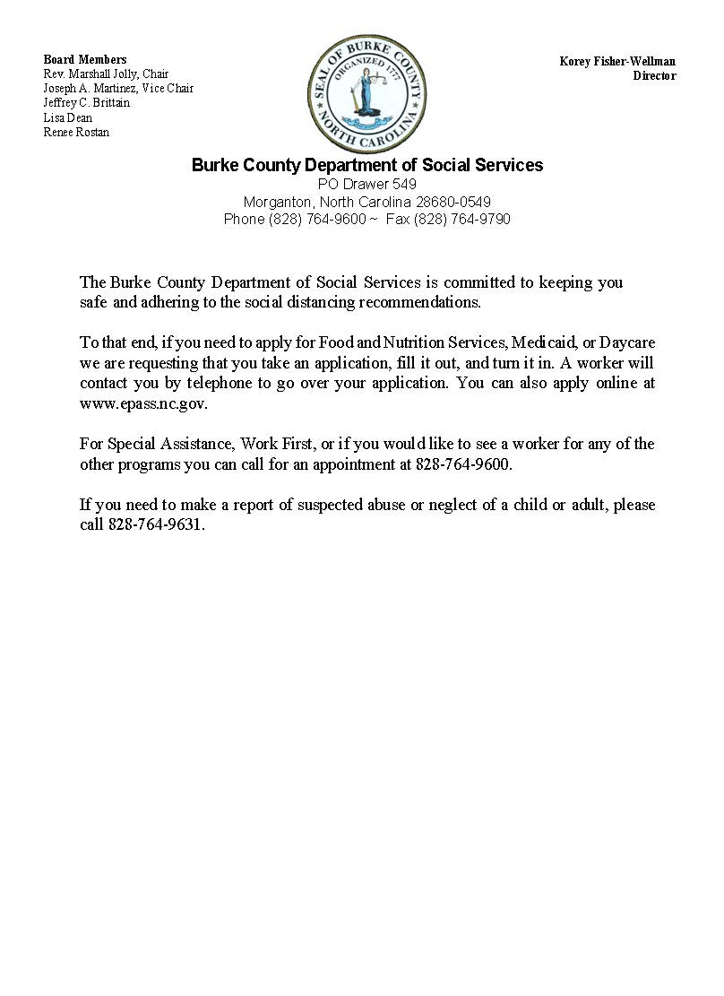 Burke County DSS message