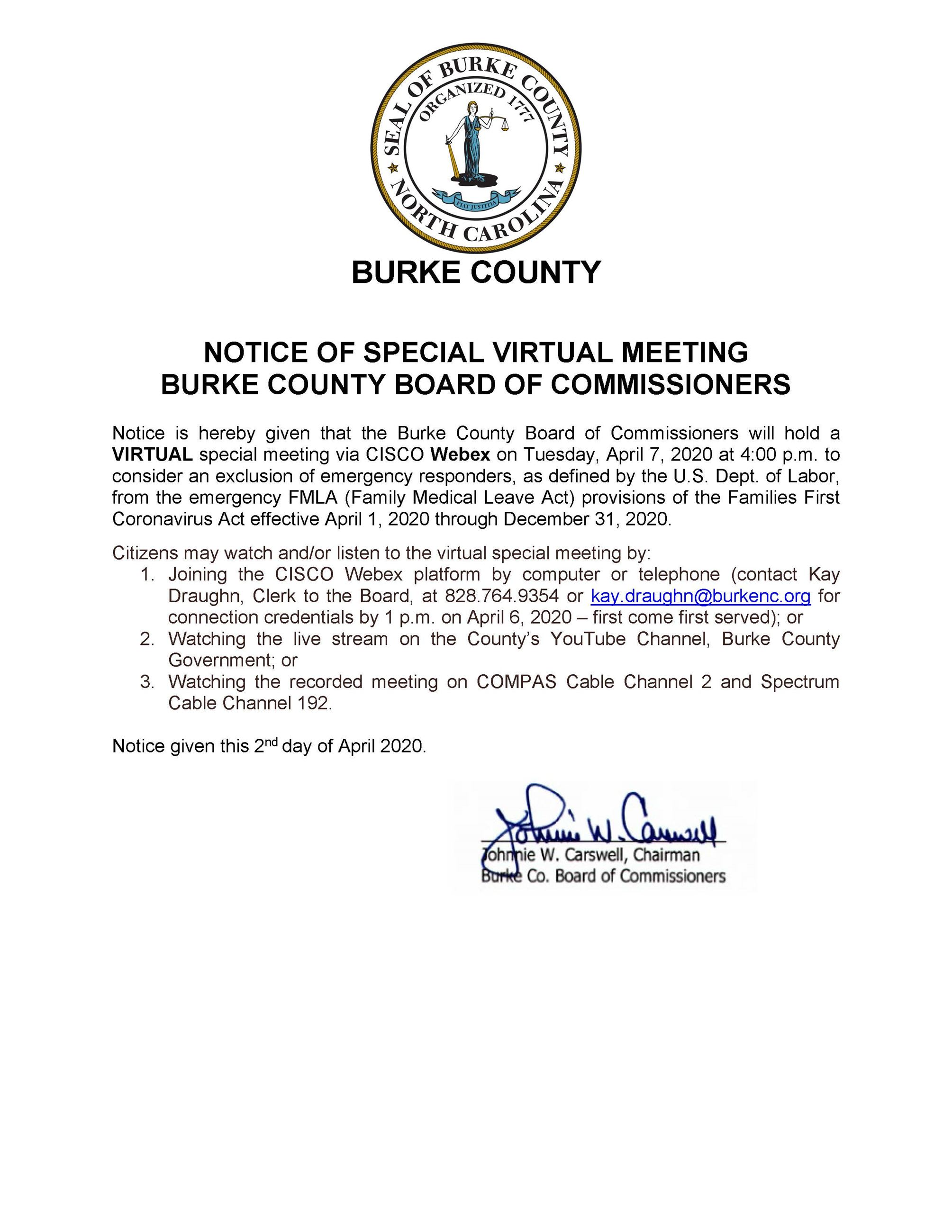 2020 04 07 Special Meeting Notice - FLMA Exemption