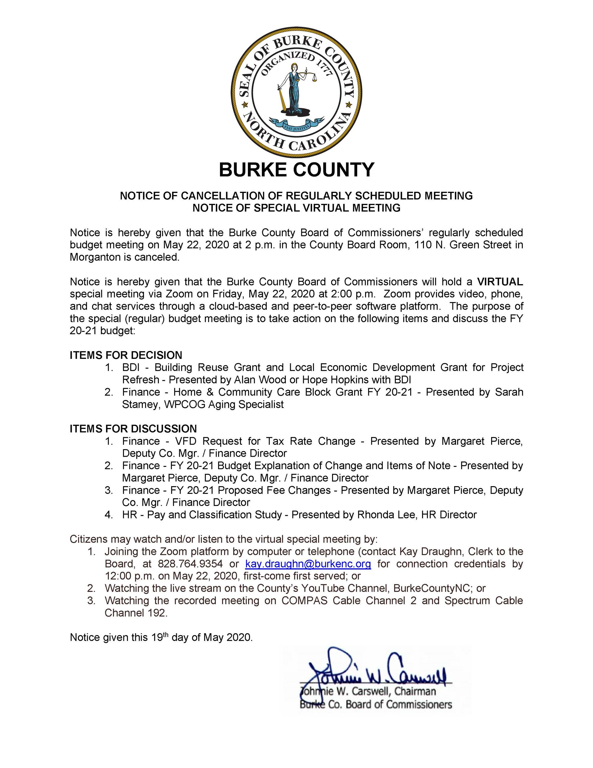 2020 05 22 Special Meeting Notice - Regular Budget Meeting
