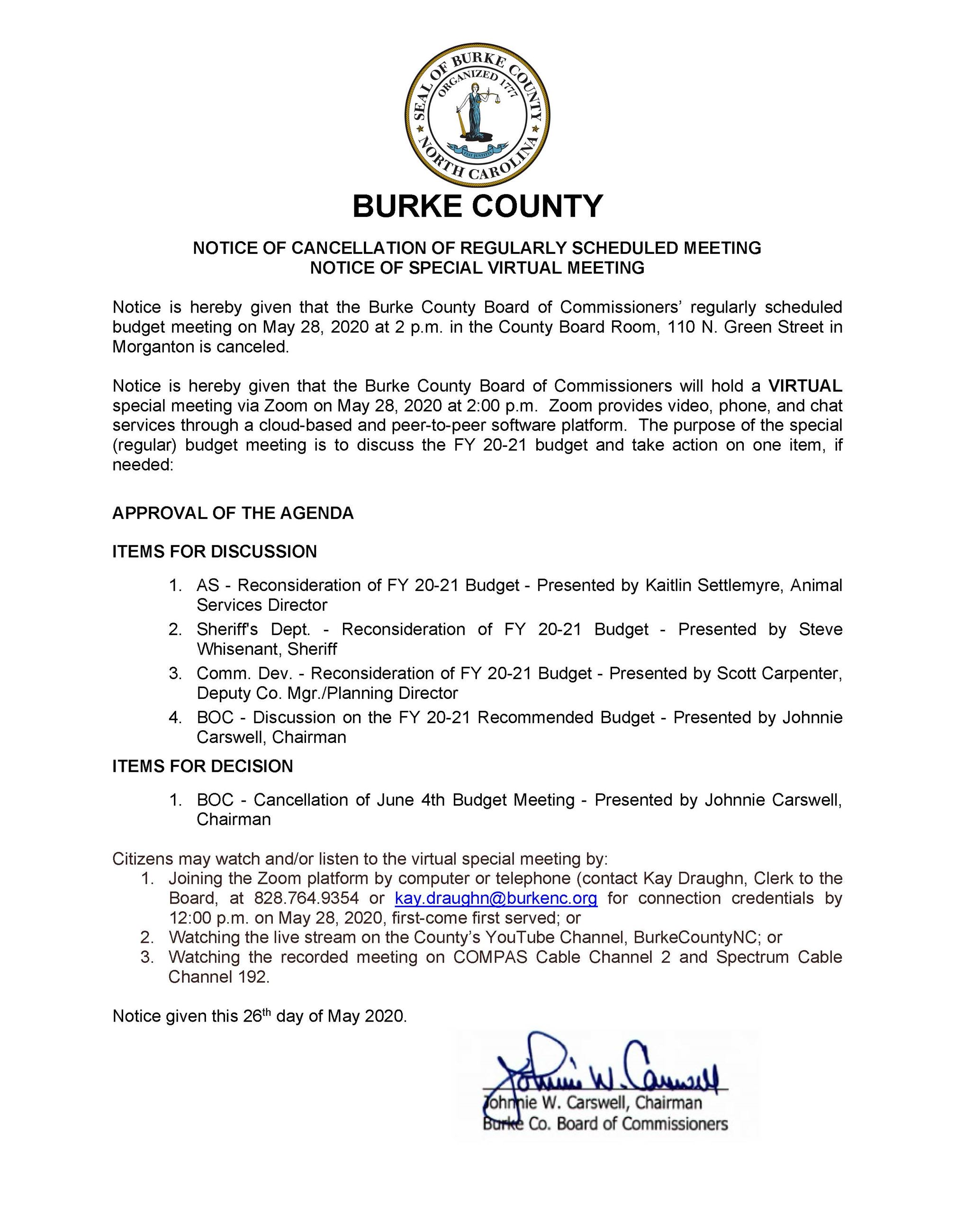 2020 05 28 Special Meeting Notice - Budget Meeting