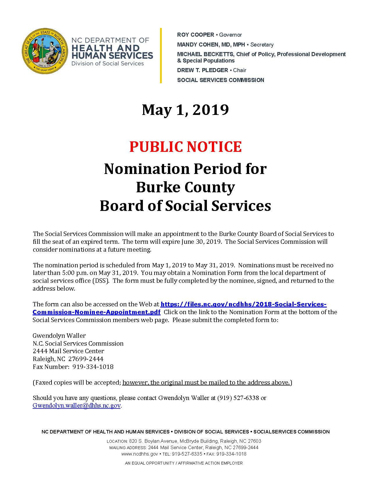 Burke County DSS Board Vacancy