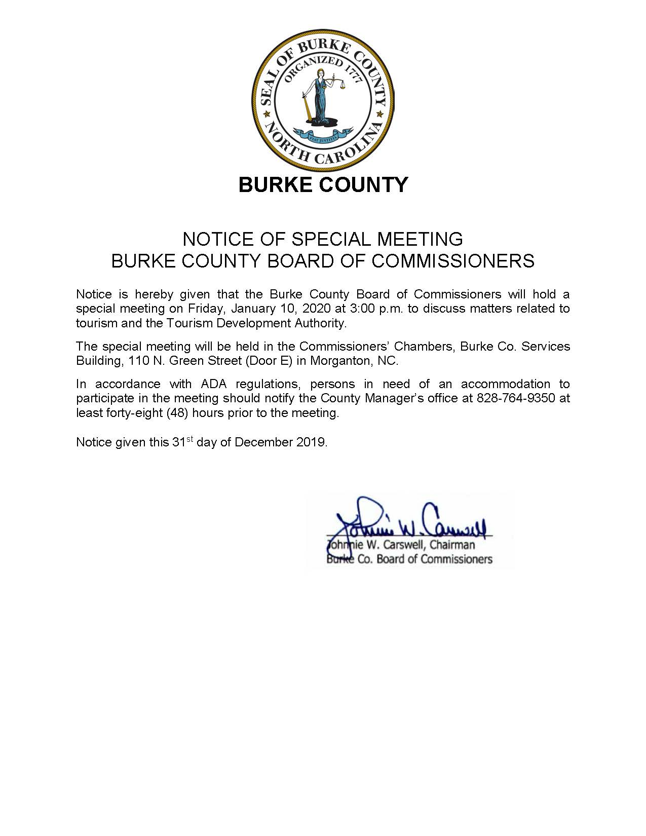 2020 01 10 Special Meeting Notice