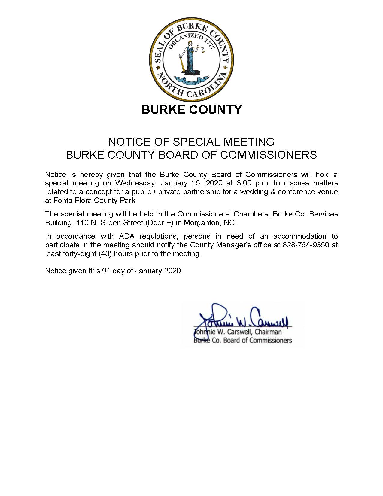 2020 01 15 Special Meeting Notice